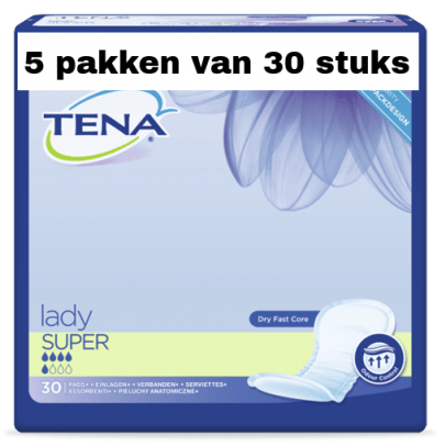 Tena Lady Super | 5 pakken van 30 stuks