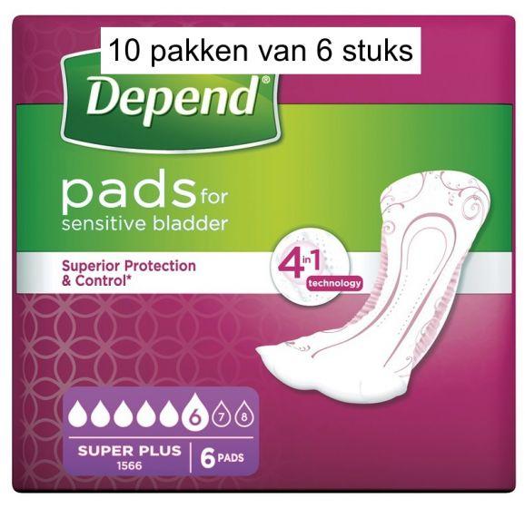 Depend Verband Super Plus   10 pakken van 6 stuks