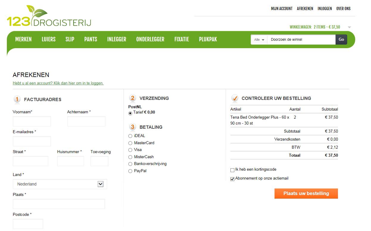 Incontinentiemateriaal bestellen