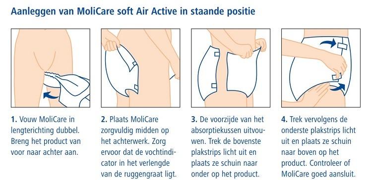 Aanleggen van MoliCare soft Air Active in staande positie
